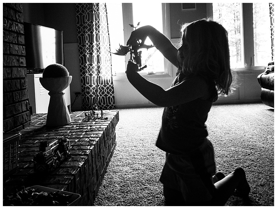 9:42 am // I love how she can play with little animals or dolls for hours. She makes up stories and acts out scenes (often related to real life events, so it's awesome to see things through her eyes). Today it's Lego dragons and princesses.
