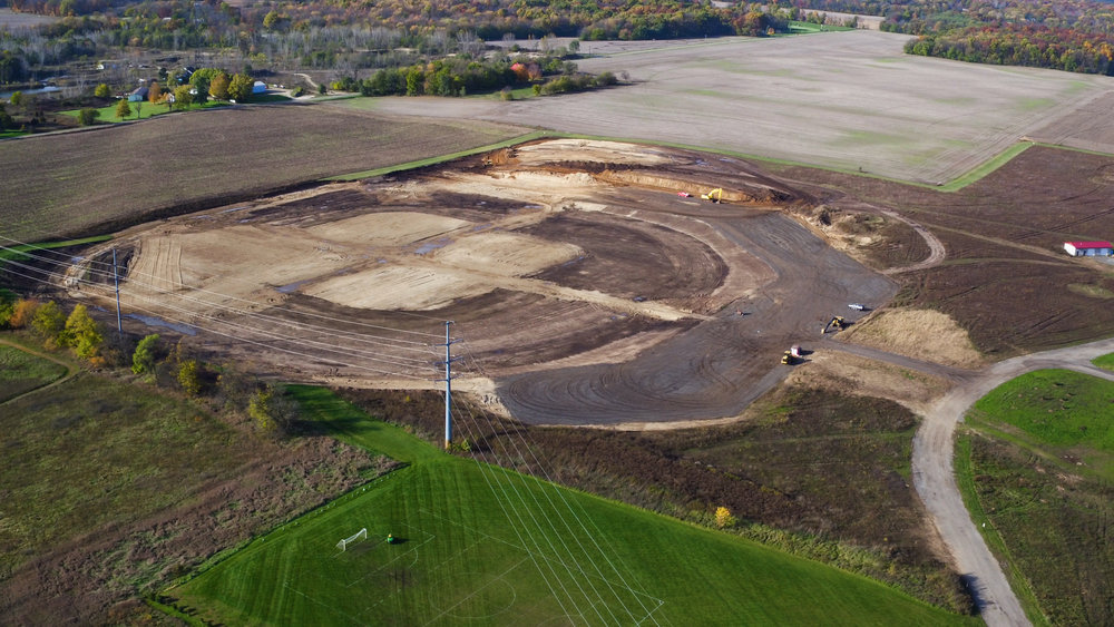 "Excavation begins on the Complex's first ""wagon wheel"" of baseball & softball fields, November 2017."