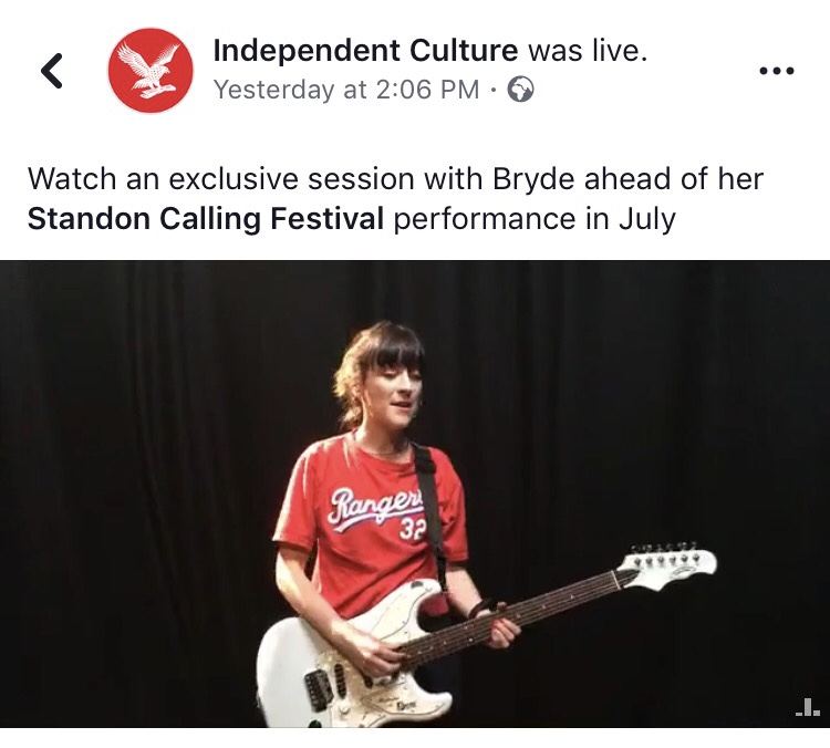 Watch Bryde's Live stream over on Independent Culture's Facebook page.