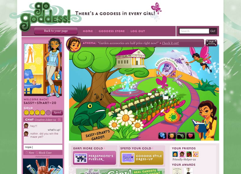 Girls' gaming site