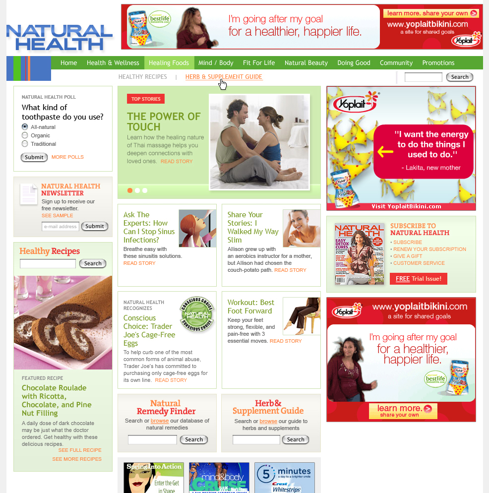 Health magazine's site
