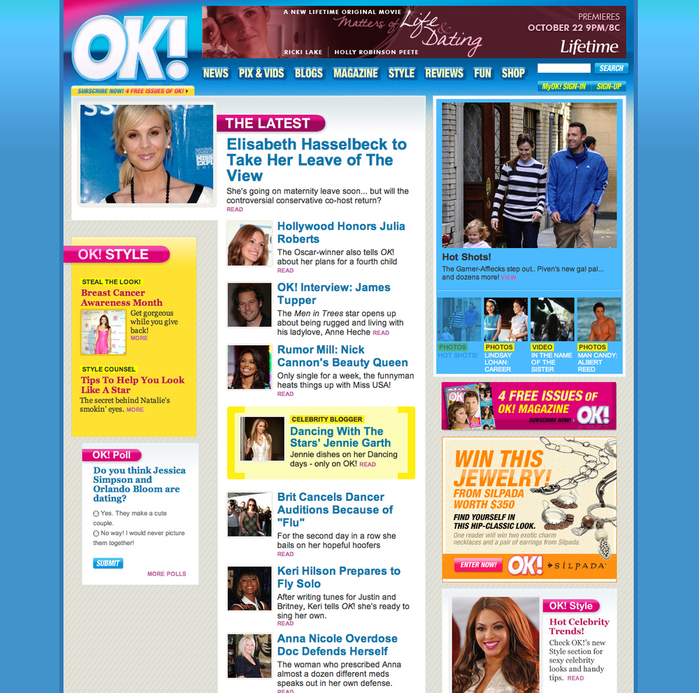 Site design for OK! USA (R.I.P.)