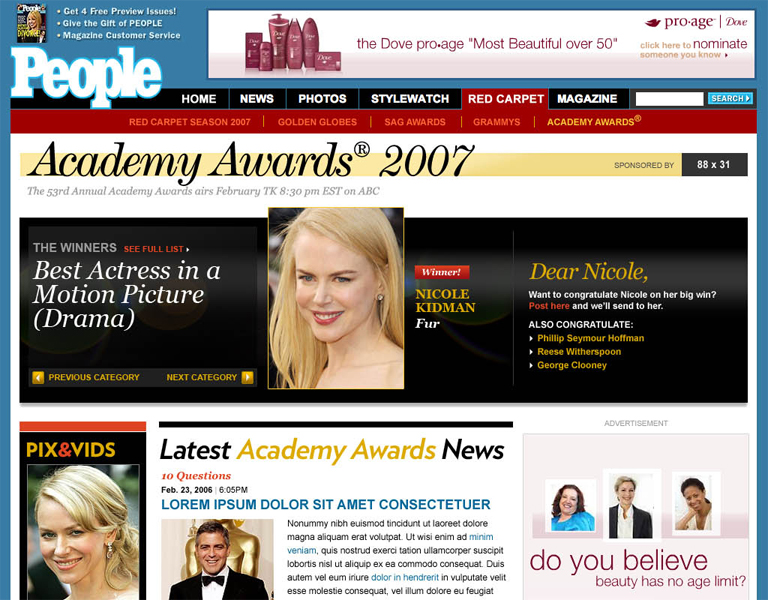 Oscar coverage site for People magazine