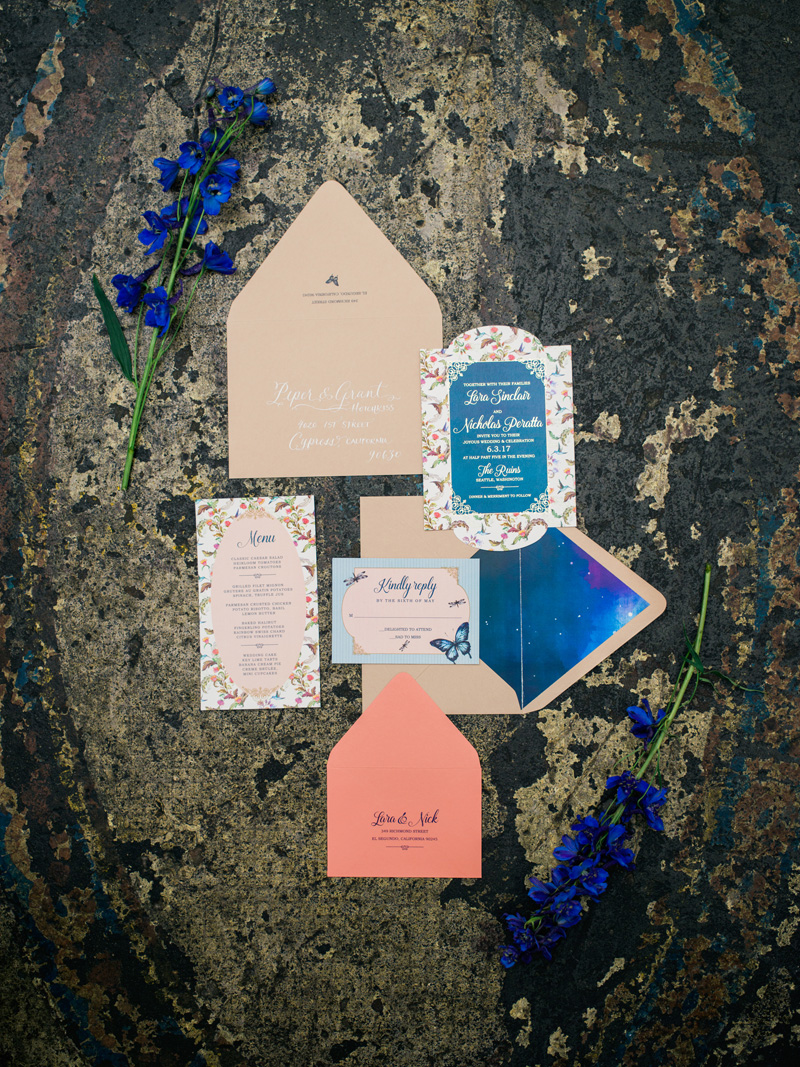 theruins.net | Copper Willow Paper Studio Wedding Invitations | Alante Photography | Seattle Weddings at The Ruins
