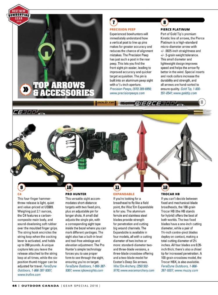 Outdoor Canada Magazine's Best Bow Hunting Gear with Precision Peeps