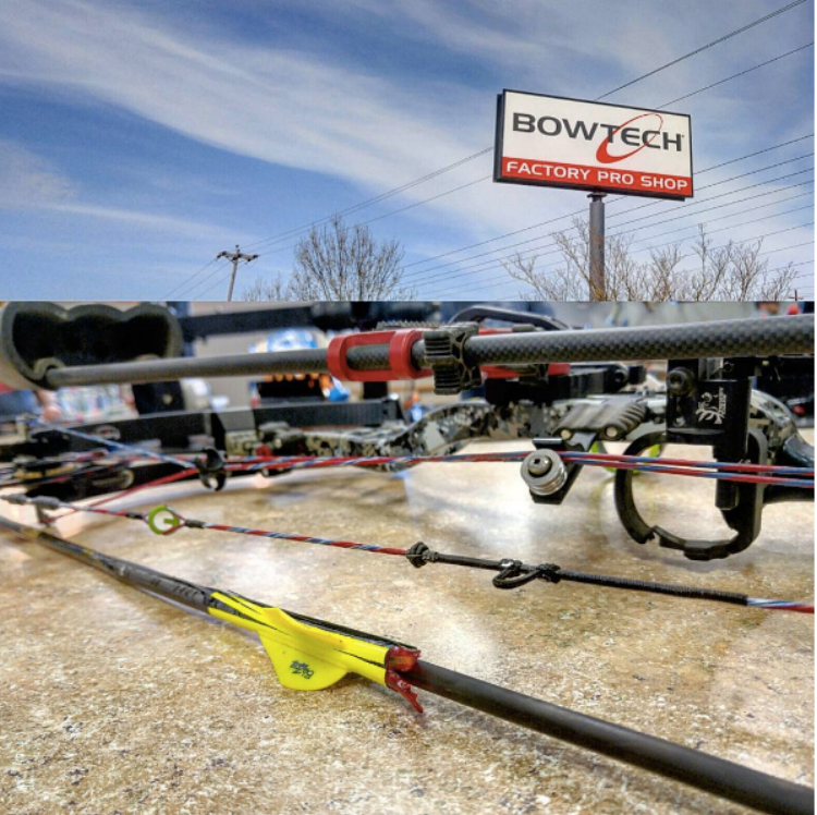 "Customer Levi Tickner stands outside of the  Bowtech pro shop  in Oregon and captioned this picture. He says,  ""I took to the combo well! 2 out of first 4 shots."""