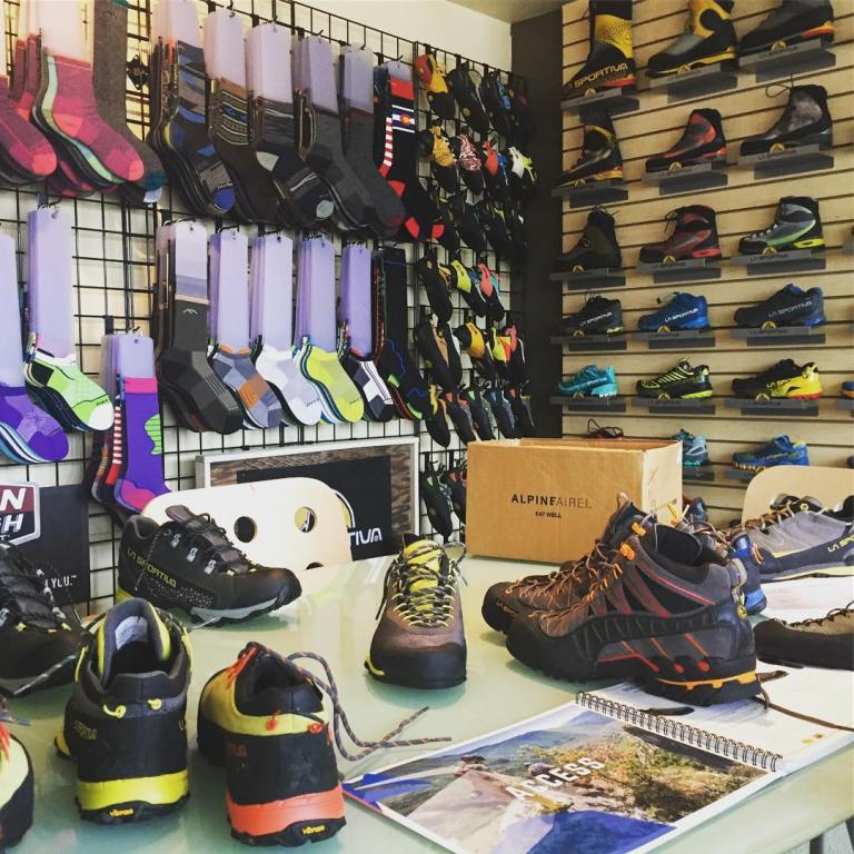 Comparing approach shoes in the La Sportiva line up at the secret lair of Pinnacle NW Sales group in Ballard