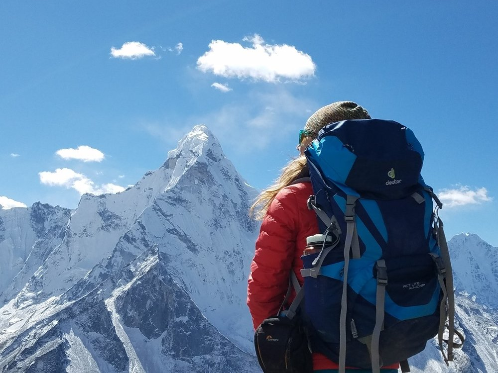 Ida on top of Chhukung Ri looking at Ama Dablam. (Photo credit: Ida Vincent)