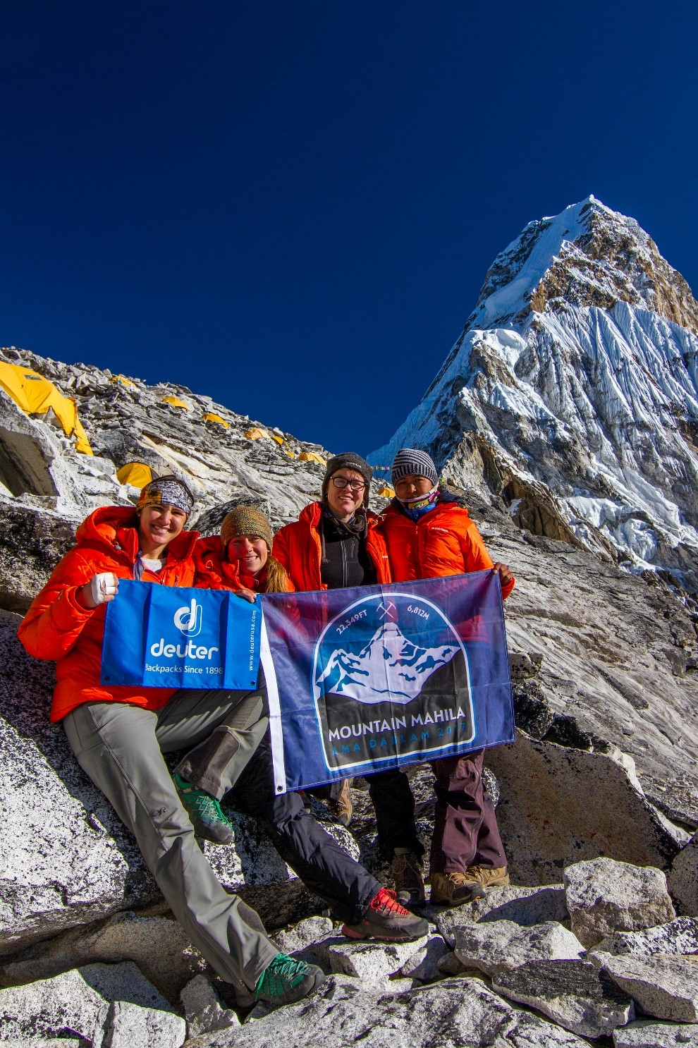 The full Mountain Mahila team at Camp 1 on Ama Dablam: Kim, Ida, Tammy and Phurba. (Photo credit: Ida Vincent