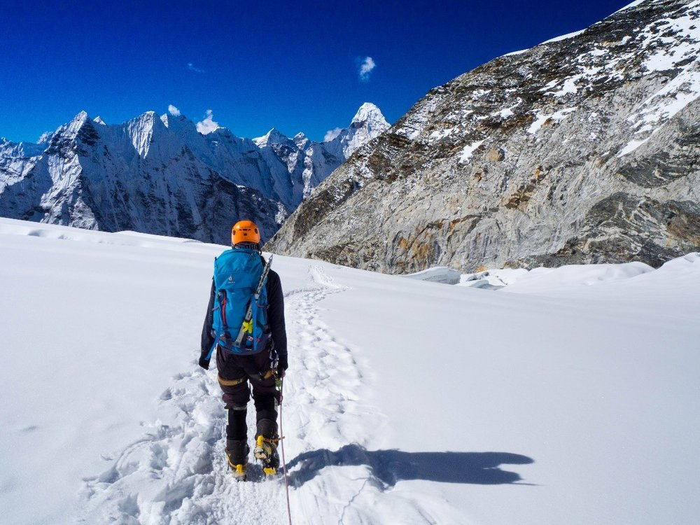Phurba Sherpa on descending Imja Tse. (Photo credit: Ida Vincent)