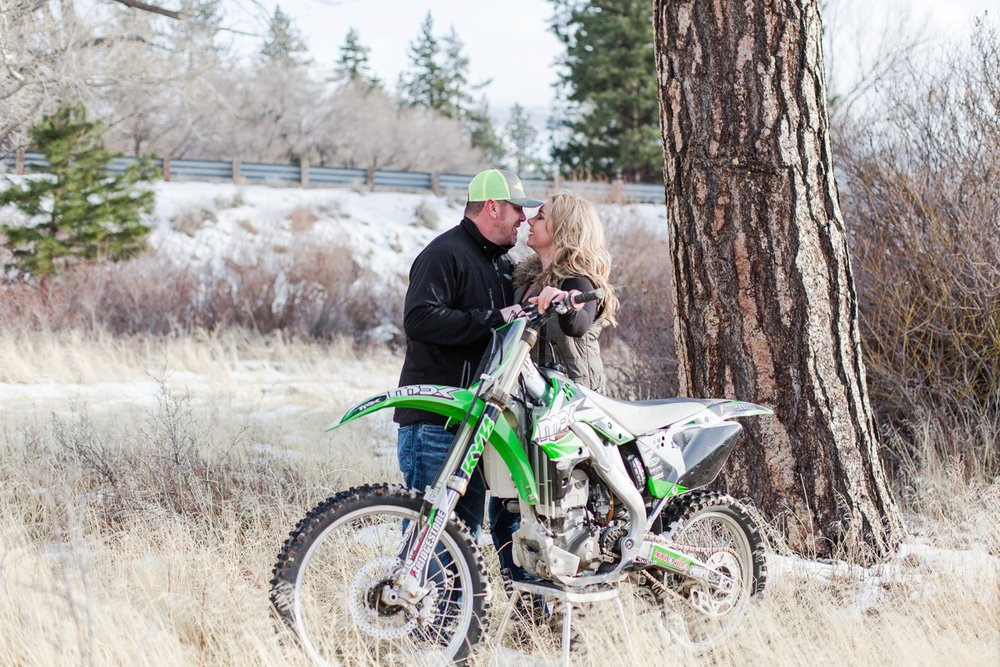 For these two an engagement session would not have been complete without the dirt bike. Larry was so patient moving it from spot to spot so we could get the perfect photos for them.
