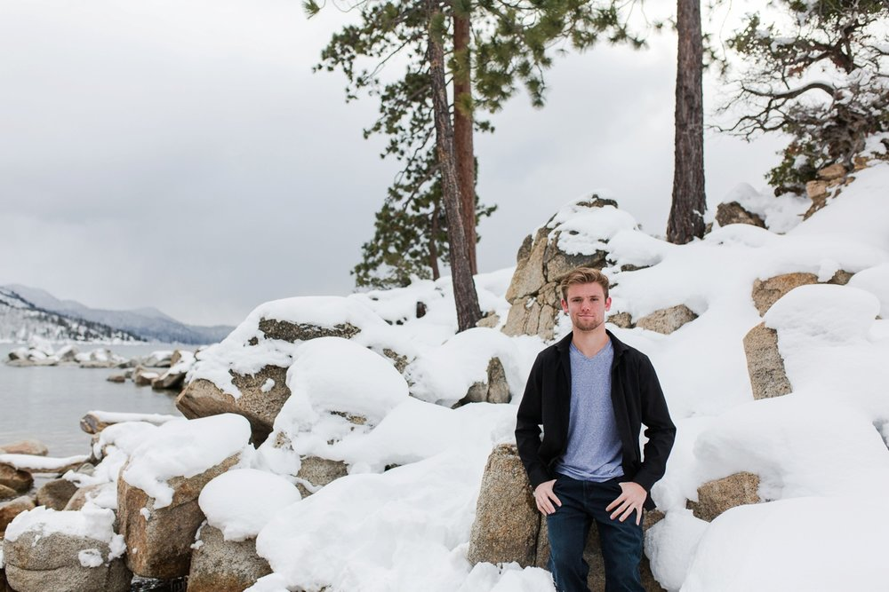 sand harbor tahoe in the snow senior portraits kristi gayton photography