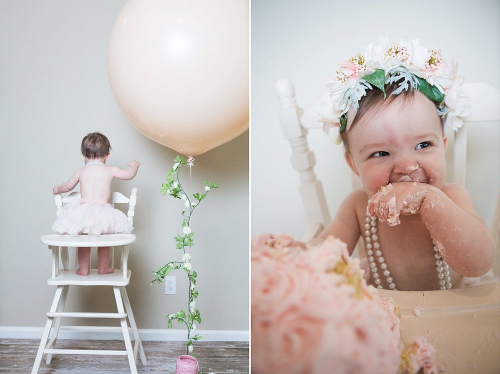 reno photographer kristi gayton photography baby one year cake smash vintage high chair