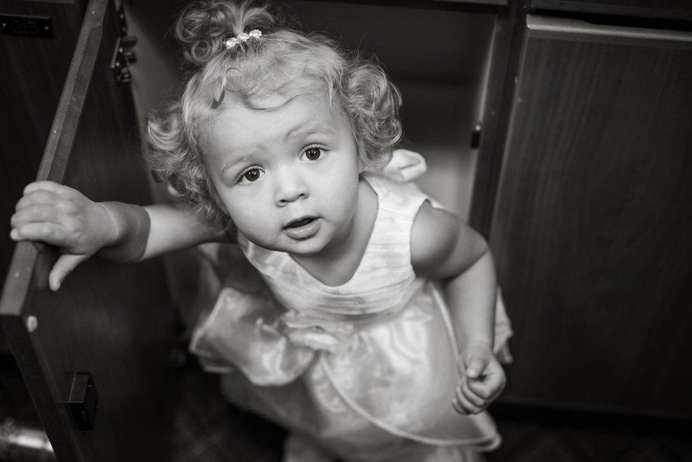 """She was so cute hiding in the cupboard saying """"bye-bye!"""""""