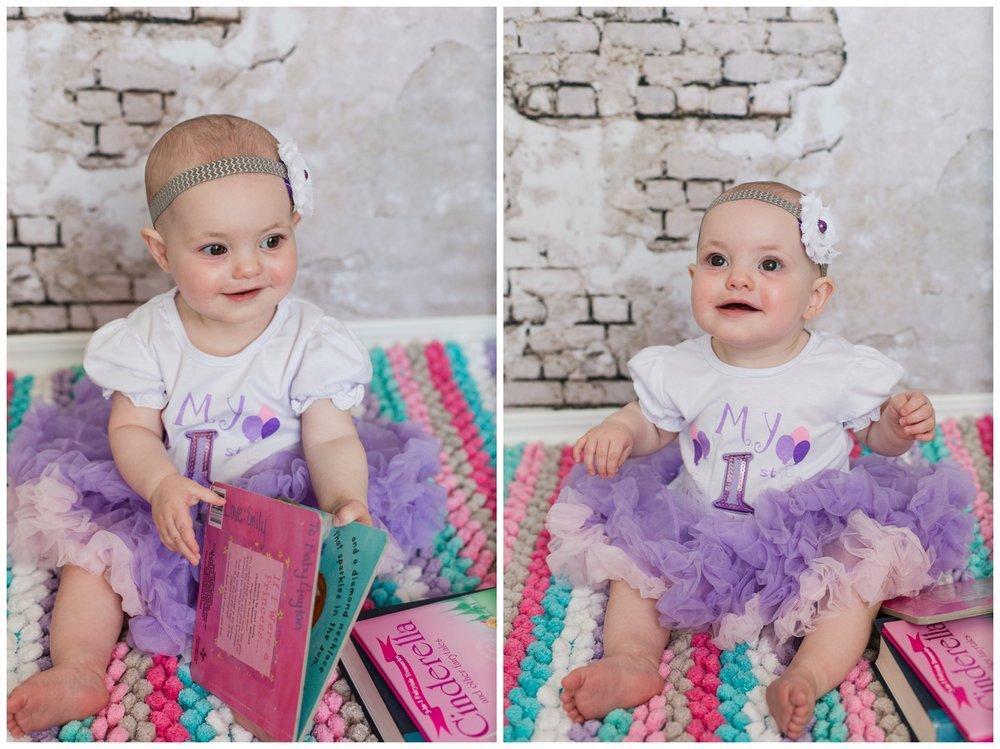 Reno photographer watch me grow session studio baby girl one year old purple tutu