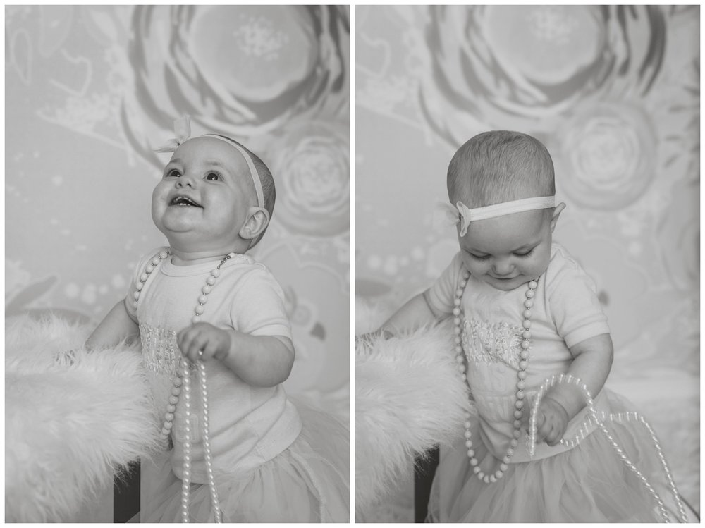 Reno family and baby photographer baby girl in pearls kristi Gayton photography