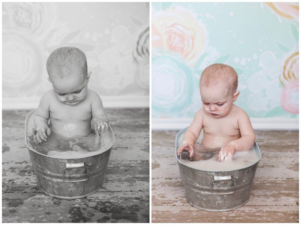Reno photographer one year baby session studio session in basin tub kristi gayton photography