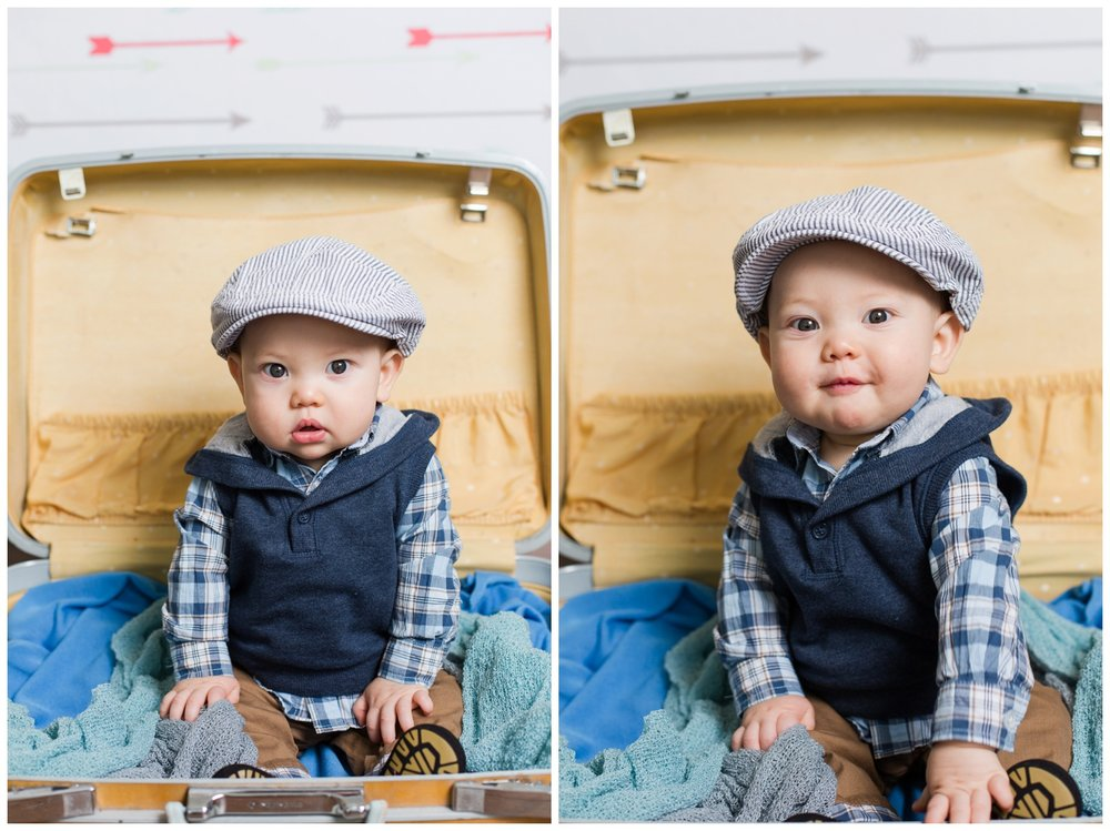 newborn photographer reno Nevada baby in suitcase one year session carter