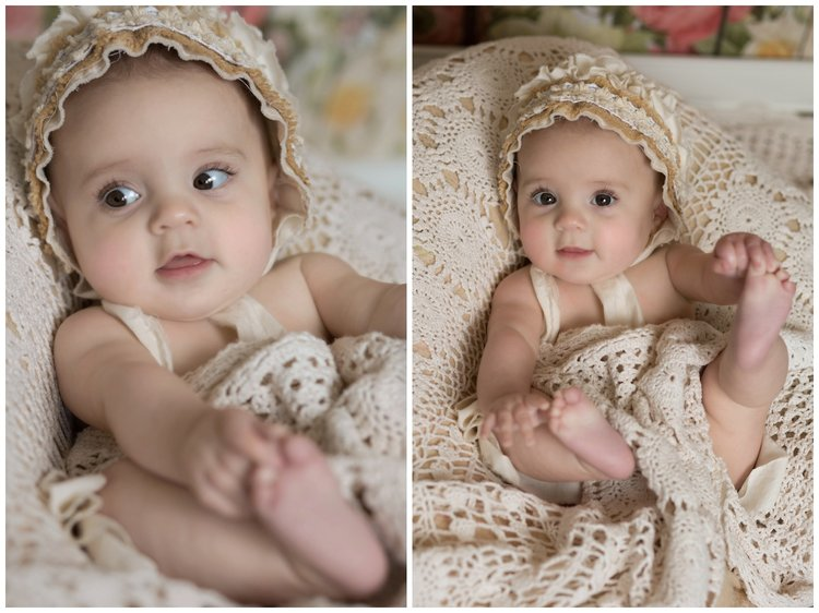 Reno newborn photographer baby girl six months bonnet