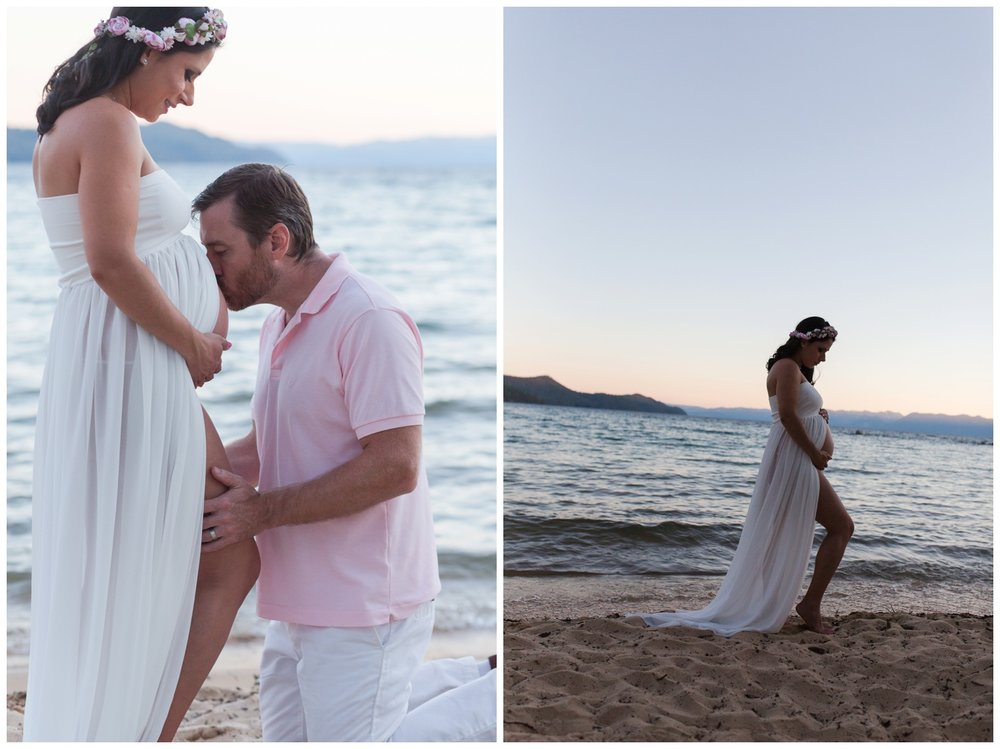 Lake Tahoe Reno Maternity sunset session kristi gayton photography lake tahoe beach