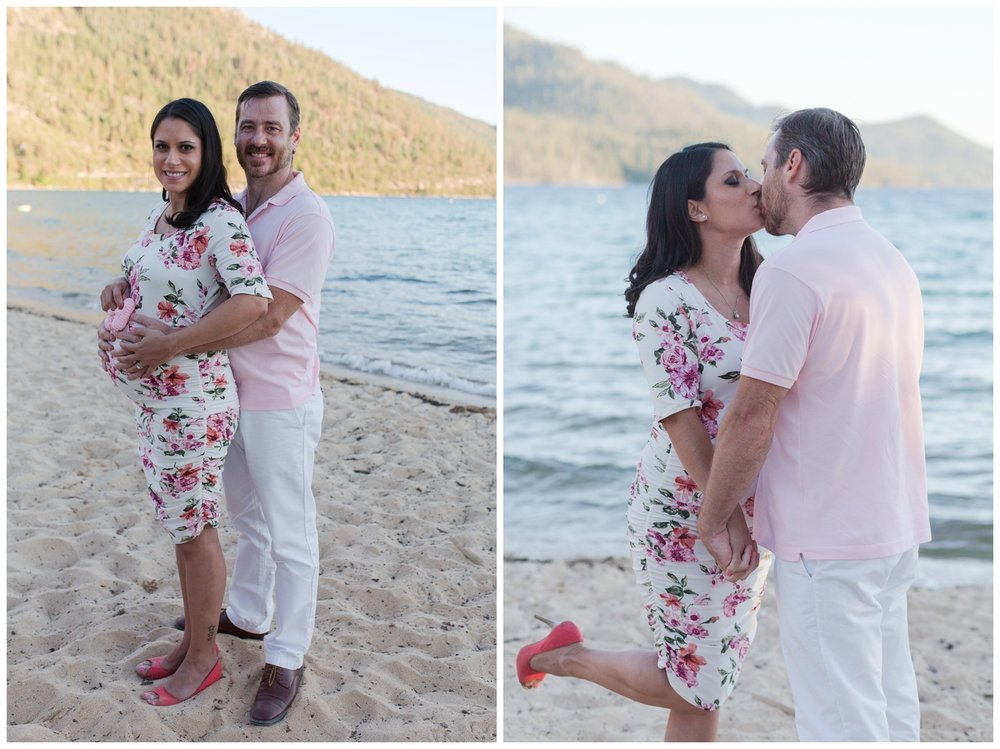 Lake Tahoe reno maternity session sand harbor beach couple pose kristi gayton photography