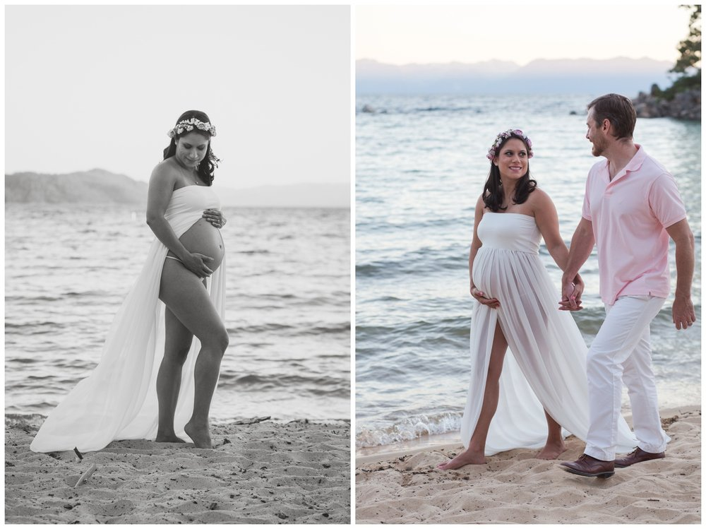 reno maternity photographer couple walking on the beach kristi gayton photography