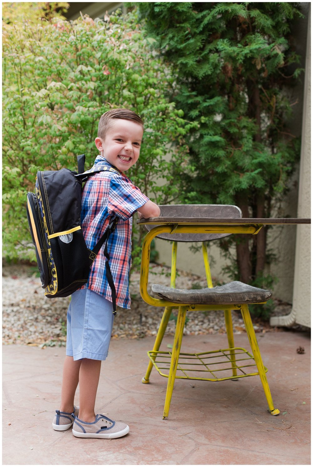 Oh my heart! Here is Declan on his first day of Kindergarten. We live in Sparks, NV and he goes to an amazing little school here and has the sweetest teacher BUT this was the FIRST day before I knew everything was going to be okay and my heart was breaking on the inside a little knowing I was going to be counting every hour until he came home.