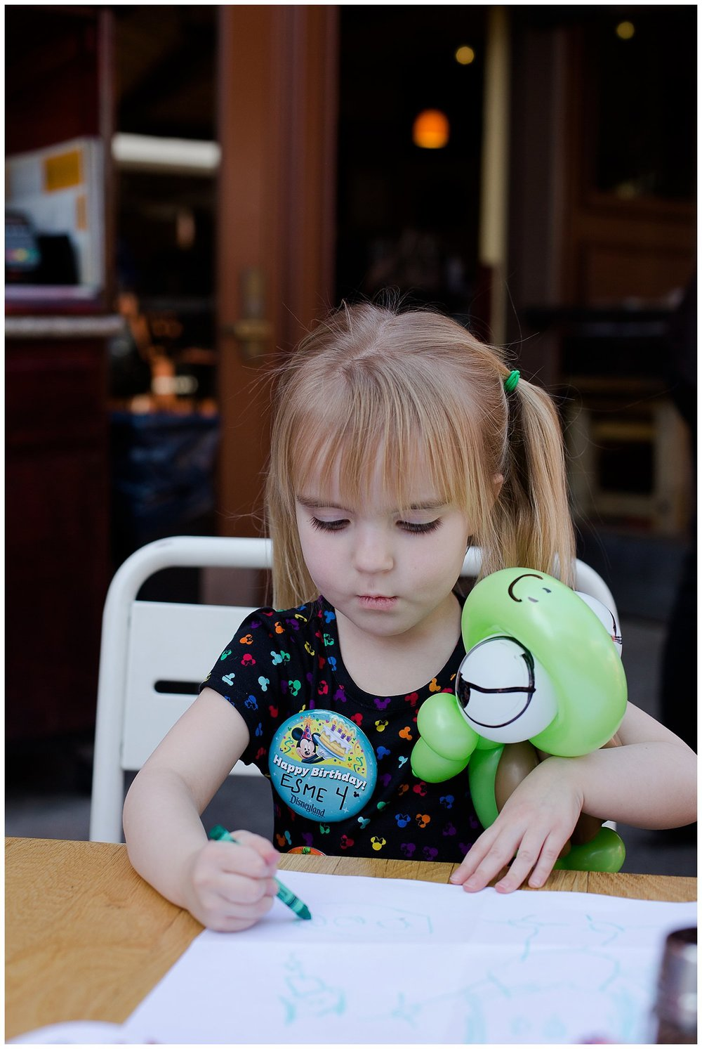 Time for a little lunch and coloring break! Some nice gentlemen came around making balloon characters for the kiddos. We were happy to tip as it kept the kids entertained waiting on their lunch! Esme had her birthday pin on pretty much every single day of the trip!
