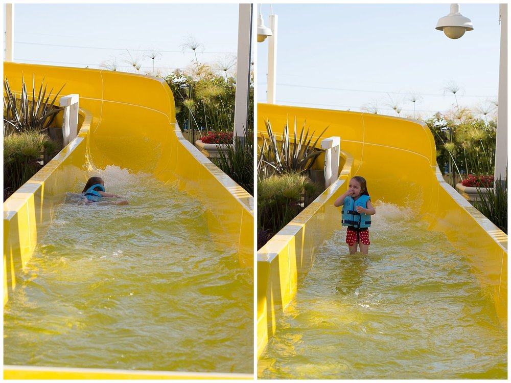 And then the lifeguard did NOT in fact grab her at the bottom and she was NOT too happy about that little ride.