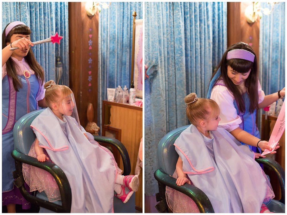 "Esme's big birthday gift was going to the Bippity Salon to get a full princess makeover! She chose a princess Minnie dress and went for the cinderella style hairstyle! I literally cried watching her makeover LOL she was having so much fun and chatting it up with her ""fairy God Mother in training"" like a little adult!"