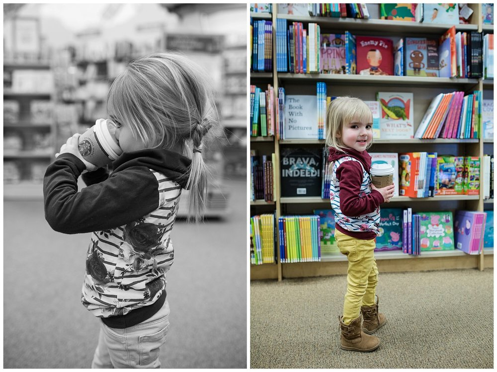 "Barnes and Noble date with Esme to choose a new book. She picked a ""Pinkalicious"" story collection. Her favorite!"