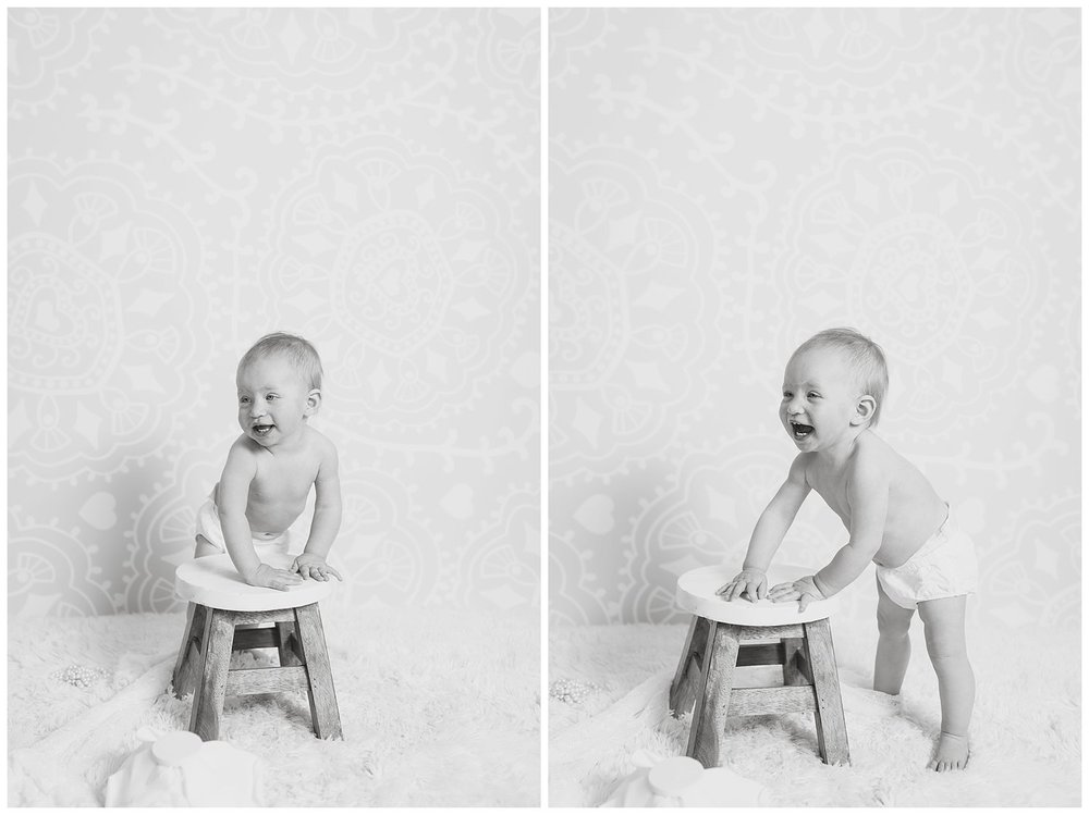 black and white photo one year old reno Charlotte Kristi Gayton