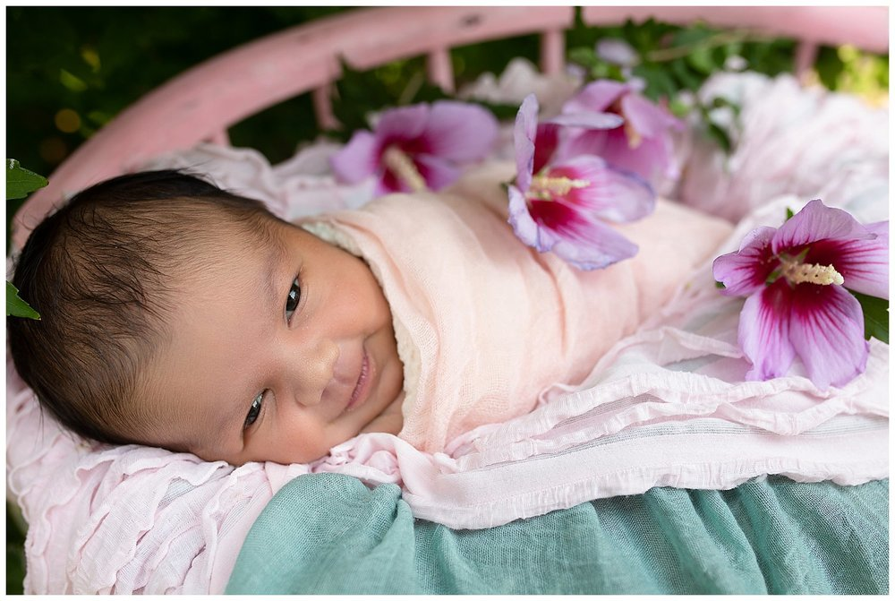 I am LOVING outdoor newborn photography... In fact we will be putting large planter boxes in our backyard and planting them to ensure something is always in bloom when the weather is warm enough to take babes outside. I think Tayvi likes being outside too... just look at that sweet face!