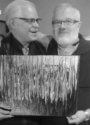 Artist Ross Thompson (pictured right) at Conception Dallas Art Show, December 2016