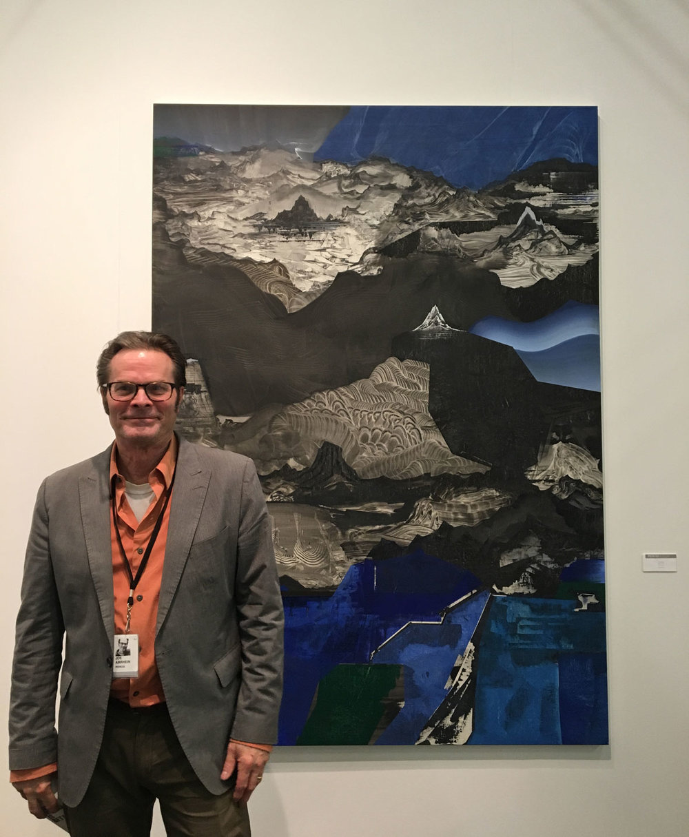 Joe Amrhein of Pierogi Gallery in front of  Sleeper , 2017, by Elliott Green, Oil on linen, Pierogi Gallery, New York, NY