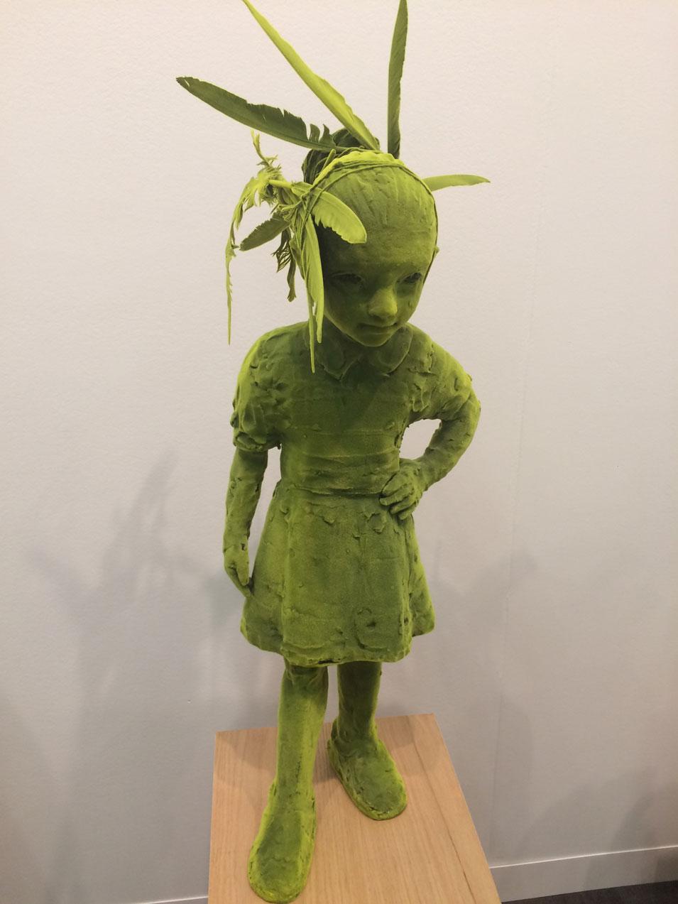 Kim Simonsson,  Mossgirl , 2017, Ceramic, feather, nylon fibers, Galerie Forsblom, Helsinki, Finland