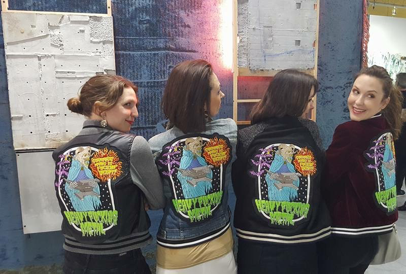 Photo taken by Jason Patrick Voegele of our artist 'girl gang' in Miriam Carother's Heavy Metal jackets at the Lodge Gallery booth.