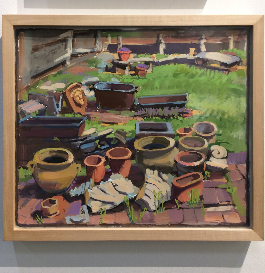 Catherine Drabkin, Backyard, Arch Street, 2016, gouache on paper, Kraushaar Galleries Inc., New York, NY