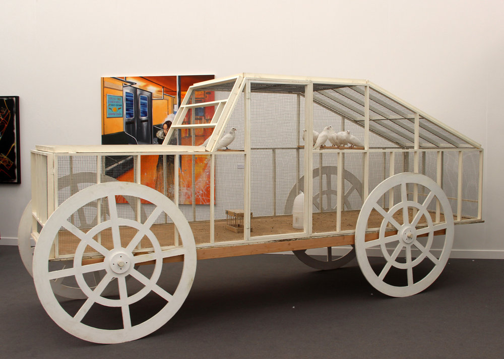 Andon van Dalen, The Pigeon Car, 1987, wood, wire, live pigeons, P.P.O.W., New York, NY