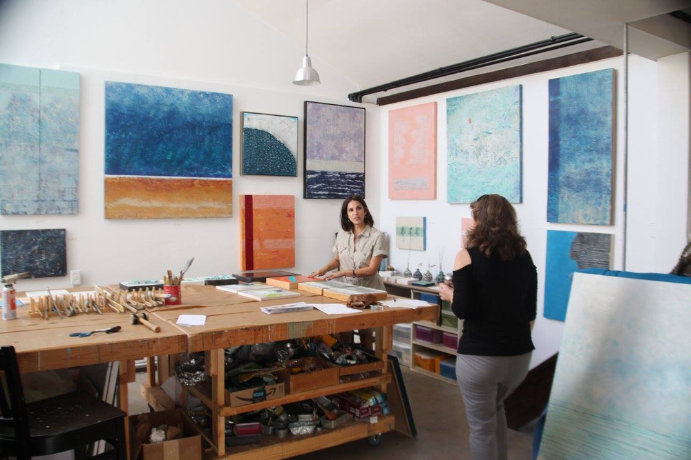 Artist Linda Frueh opening her studio to patrons during the 3rd Annual OPEN STUDIOS SAN DIEGO