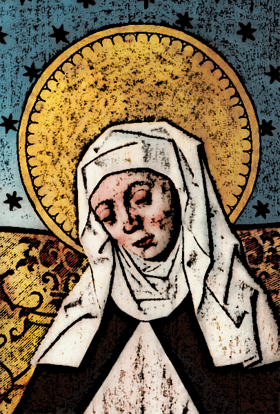 In c. 1020, the abbess (the leading nun of a group of nuns) of Meschede, Germany, Hitda, commissioned a codex (a sort of picture book of selected Bible passages).  Her likeness is drawn in miniature portraiture in the beginning of the Hitda Codex.
