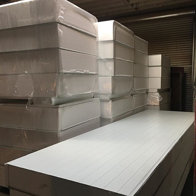 Panel pile. Here is a stockpile of heavy duty panel pieces waiting for install at client site. Notice the twelve inch thick cuts on the left, rated by building and safety codes for more than fifty pounds of vertical weight load over a twenty five foot span, meaning #cannapanels can support your ceiling mounted equipment directly. #foamforthefuture