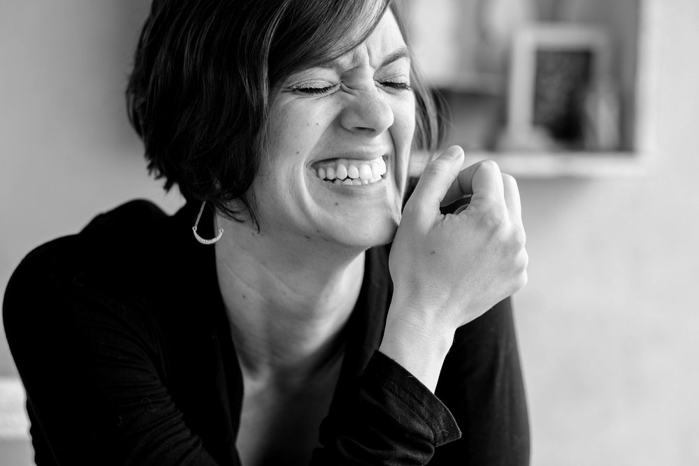 portrait black and white Seattle laugh woman