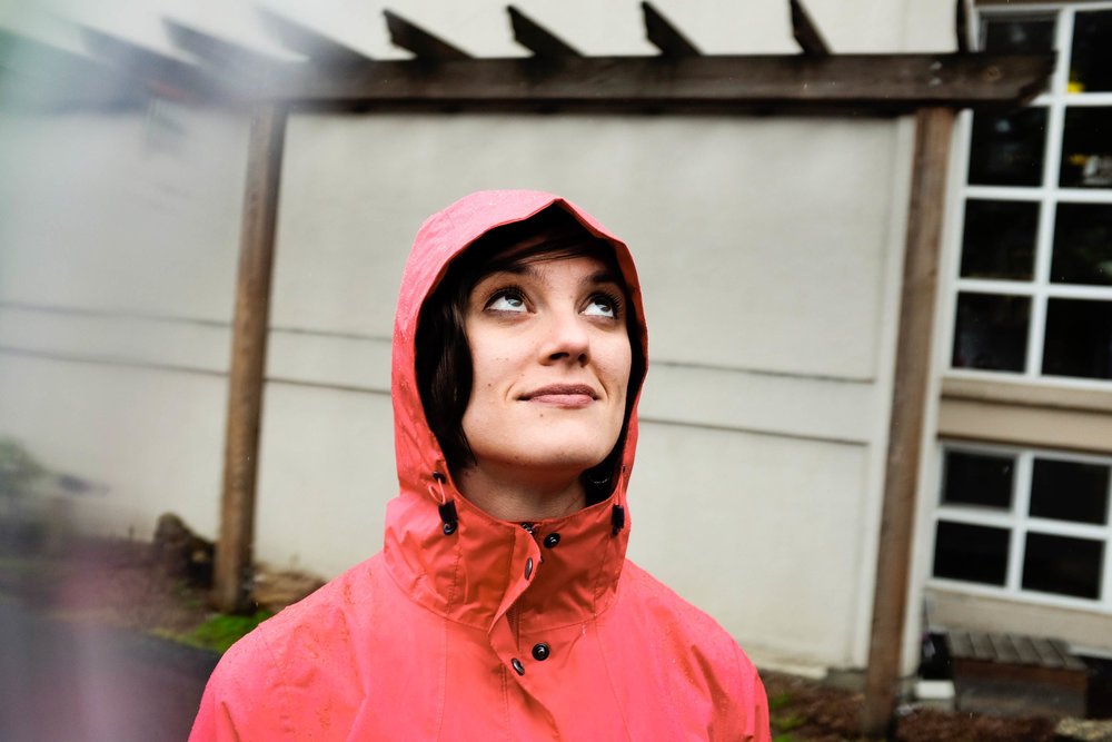 rain portrait woman photograph red raincoat