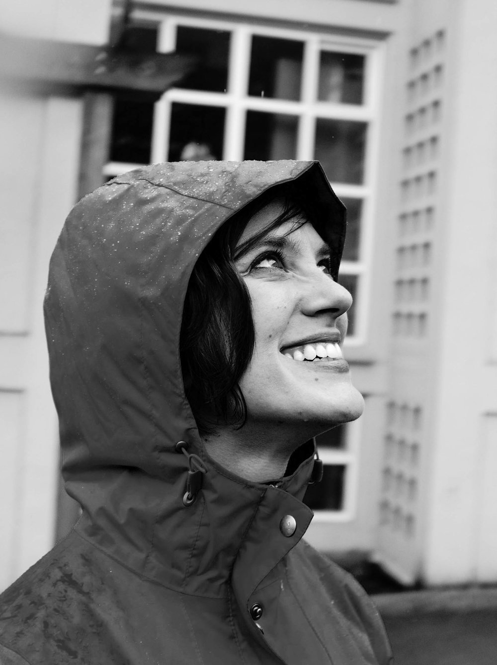 portrait pnw woman rain happy picture photograph