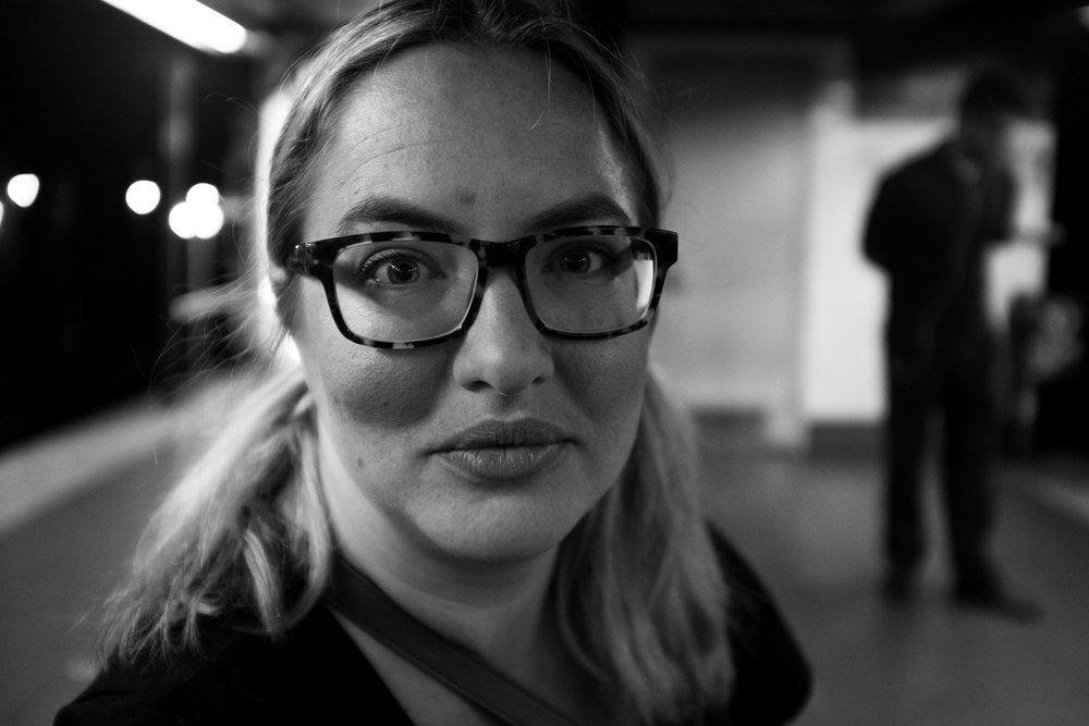 black and white portrait glasses woman