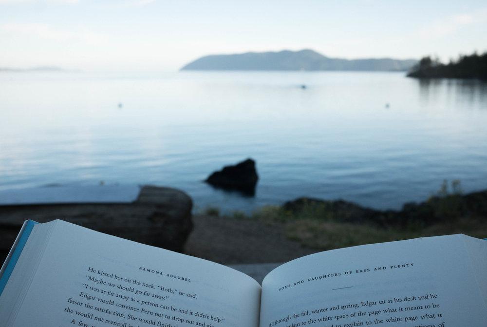 book reader island vacation photograph