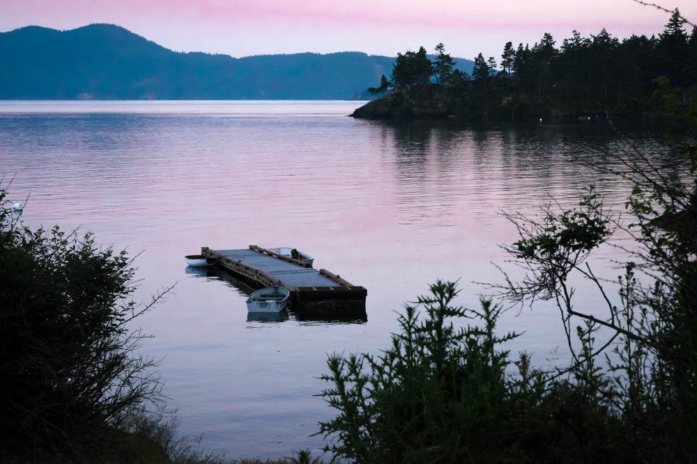 sunset dock photograph pnw