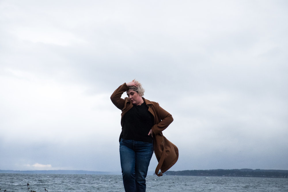 Seattle photographer shoreline model beach portrait plus sized