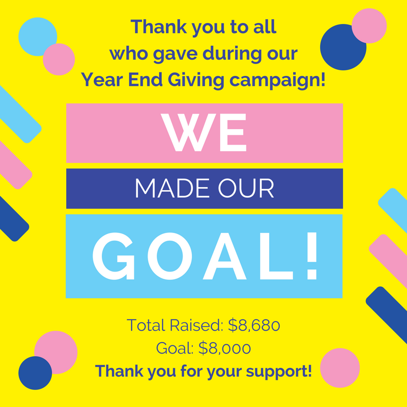 Thanks to the generous support of our donors, we raised $8,680 during our year-end campaign, exceeding our goal of $8,000!